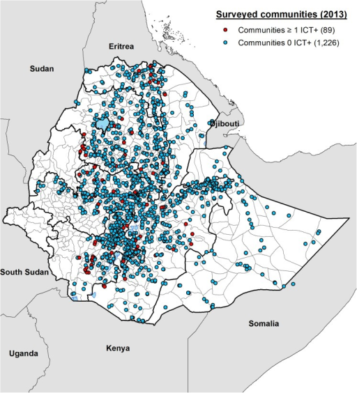Map showing the locations of 1315 communities surveyed in Ethiopia during the mapping project in 2013.Eighty-nine communities in which one or more persons out of 100 individuals tested were found to be positive for circulating filarial antigen (CFA) are shown in red. Communities where no positive individuals were identified after testing approximately 100 adults are marked in blue.
