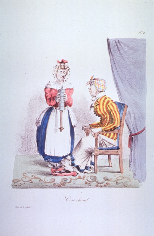 <p>A woman preparing to administer a clyster to a woman seated to the right with a frightened look on her face.</p>