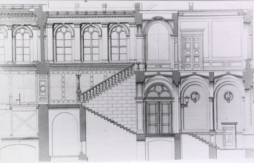 <p>Detail of the facades facing the stairwells of the auditorium and vestibule.</p>