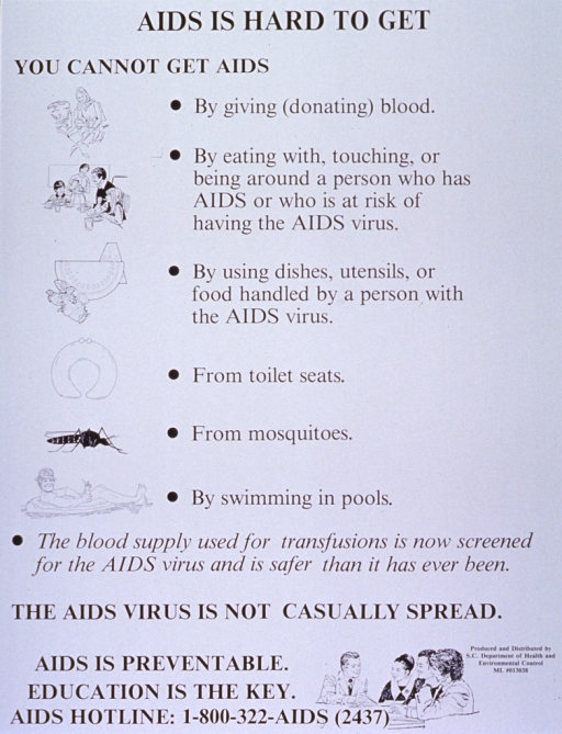 <p>White poster with black lettering.  Title at top of poster.  Poster dominated by text.  Visual images are small line drawings, predominantly on the left side of the poster.  The drawings depict ways in which AIDS is not spread and include: a person donating blood; a family eating together; some food; a toilet seat;  a mosquito; and a man floating in a pool.  Another drawing, showing a group of people in a class, appears at the bottom of the poster along with the note and a phone number for more information.</p>
