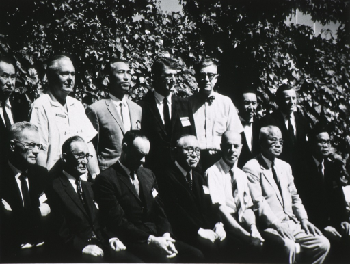 <p>Dr. James Shannon with members of the U.S. and Japanese Delegations to the CMS Program in Palo Alto, California, July 26-29, 1967.</p>