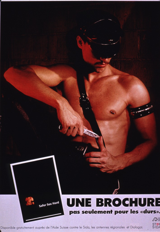 <p>Poster advertising a brochure called Safer sex hard. A photo reproduction of the brochure, the remaining title information, publishing information, picture caption, and Stop SIDA logo are at the bottom of the poster. The remainder of the poster is a photo reproduction of a young man wearing black leather pants, a black leather hat and arm band, and a leather strap across his chest from his shoulder to his hip. He is seated and is looking down as he holds a knife in one hand with the point touching the tip of his thumb of his other hand.</p>