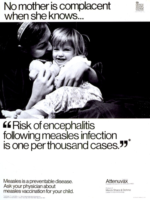 <p>Predominantly white poster with black lettering.  Initial title phrase at top of poster, along with publisher information.  Visual image is a reproduction of a b&amp;w photo of a mother holding her daughter on her lap.  Remaining title phrase below photo.  Caption near bottom of poster on left.  Advertisment for Attenuvax measles vaccine near bottom of poster on right.</p>