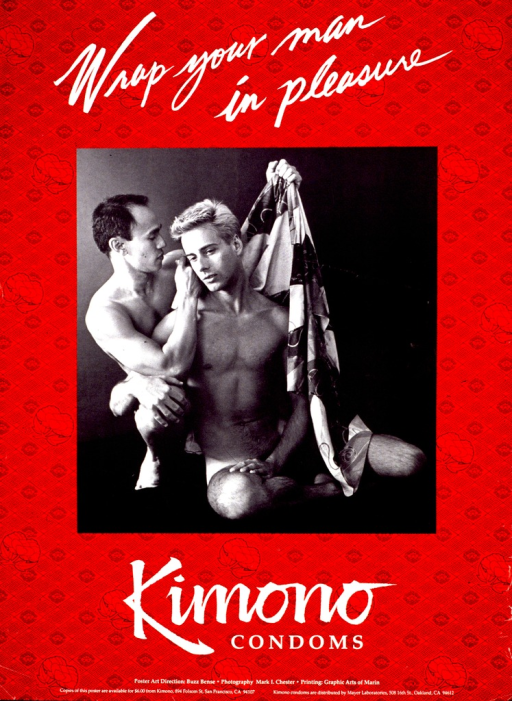 <p>Predominantly red poster with white lettering.  Title at top of poster.  Visual image is a reproduction of a b&amp;w photo of two naked men.  One man is draping the other with a piece of fabric, presumably a kimono.  Caption below photo.  Publisher information at bottom of poster.</p>