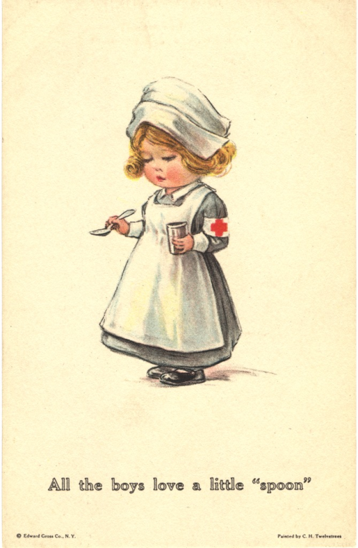 <p>Postcard featuring a color illustration of a young girl dressed as a nurse. She has a white hat, a white apron, and a white armband with a red cross, and she is holding a spoon in her right hand and a cup in her left.</p>