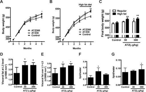 Induction of obesity in rats by ATZ treatment.(A and B) Changes in body weight of ATZ-treated rats (ATZ30, 30 µg kg−1 day−1; ATZ300, 300 µg kg−1 day−1) versus control rats over time. (A) Regular-diet group. Rats were fed a regular diet for 5 months during treatment with ATZ, provided in drinking water. (B) High-fat-diet group. Rats were fed a regular diet for 3 months and then fed a high-fat diet for another 2 months. (C) End-of-study comparison of body weights between two different diet-treated rats. (D and E) Increase in visceral fat by ATZ. The amount of visceral fat in the high-fat diet group was measured by horizontal CT scan. Abdominal fat area at the L3 level (D) and over L1 to L5 (E) were calculated from the scanned image using a Hounsfield unit. (E and F) Intracellular fat deposition by ATZ. The amount of intrahepatic (F) and intramuscular (G) fat in rats on a regular diet was measured by non-invasive 1H-MRS and adjusted for body weight. (*p<0.05, **p<0.01 vs. control).