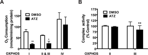 Inhibition of complex I and II plus III in isolated mitochondria by ATZ.(A) OCR. Mouse liver mitochondria (40 µg/100 µL assay) isolated by differential centrifugation were incubated with ATZ (100 µg/mL) for 30 minutes and the OCR of each complex was measured. (B) Enzyme activities of complex II (SDH) or complex III (cytochrome bc1 complex). Liver tissue lysates of ATZ-treated mitochondria were assayed as described (*p<0.05, **p<0.01; n = 4).