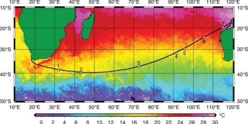 Sea surface temperatures, cruise track and station locations, illustrating the frontal systems of the Southern Indian Ocean present during October–November 2006 superimposed from Satellite images: ENVISAT, NOAA 17 and 18, MODIS Aqua and AMSR-E. From Visser et al. submitted for publication.