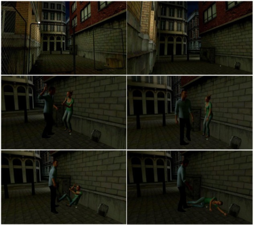 Screenshots from the virtual reality scene.