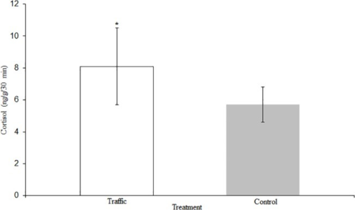 Waterborne Cortisol Levels.Cortisol levels for C.venusta exposed to the control and traffic treatments presented as the mean ± SE ng g-1 min-1. * denotes p < 0.05.