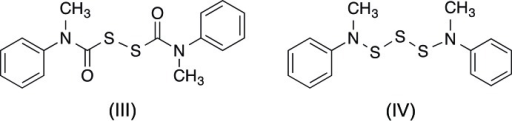 Structures of selected comparison compounds, bis­(N-methyl-N-phenyl­carbamo­yl)disulfane, (III), and bis­(N-methyl-N-phenyl­amino)­tris­ulfane, (IV)