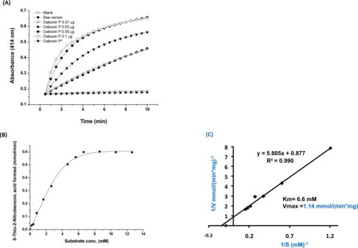 Phospholipase A2 activity of daboxin P.(A) Progress curve of diheptanoyl thio-PC cleavage by daboxin P, bee venom PLA2 enzyme and histidine modified daboxin P* at 414 nm. (B) Michaelis-Menten's curve for sPLA2 assay. (C) The Lineweaver-Burk plot of daboxin P for determination of Km and Vmax.