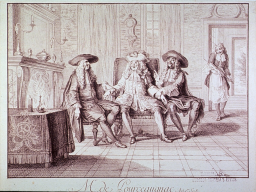 <p>Three men are sitting together in a large room; the man in the middle is having his pulse taken by the men sitting to his right and left; through a door in the rear a man enters the room carrying a large clyster.</p>