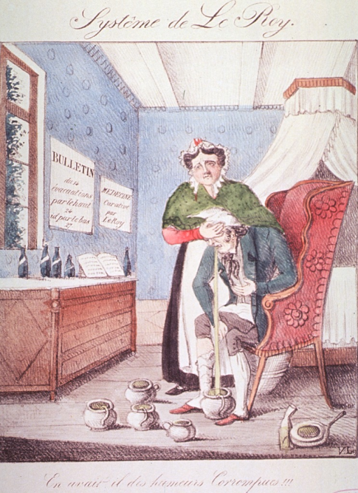 <p>Interior of a bedroom; a man sitting in a chair vomiting into a pot on the floor, several other pots are already full. A woman stands next to him with her hand on his head. There are several bottles on a dresser and advertisements for Le-Roy on the wall.</p>