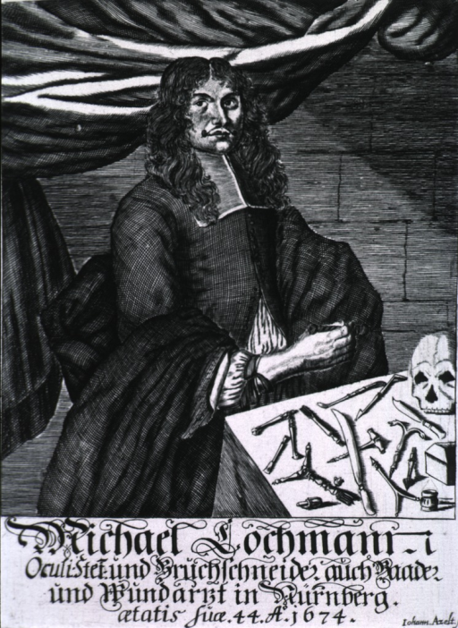 <p>Three quarter-length, seated at table, right pose, full face; instruments and skull on table.</p>