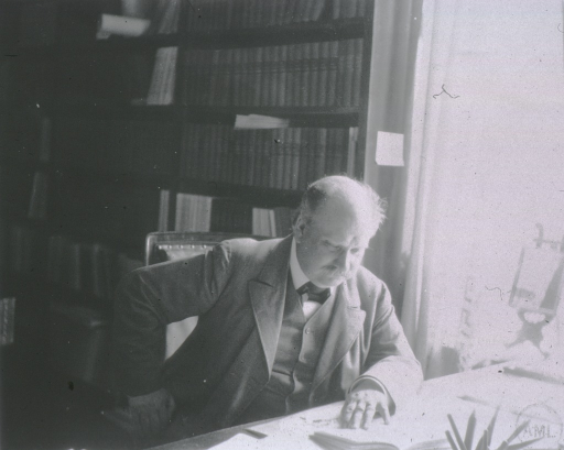 <p>Professor Tigerstedt at his library table, Hilsingfors, Finland.</p>