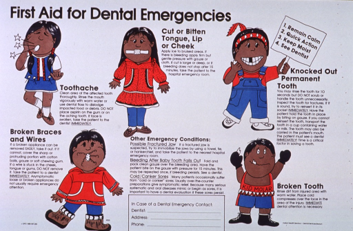 <p>White poster with black lettering.  Title in upper left corner.  Visual image consists of illustrations of children afflicted with the various dental emergencies described on poster.  Conditions include toothache, cut or bite to part of mouth, knocked out permanent tooth, broken braces and wires, broken tooth, and a few other emergency conditions.  Bottom center of poster has a space for dental contact information.  Publisher information at bottom of poster.</p>