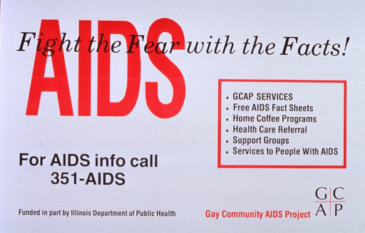 <p>White poster with red and black lettering.  Title at top of poster, with part of subtitle superimposed on initial title word.  Poster is text only.  Provides a list of services and a phone number for AIDS information.  Sponsor and publisher information at bottom of poster.</p>