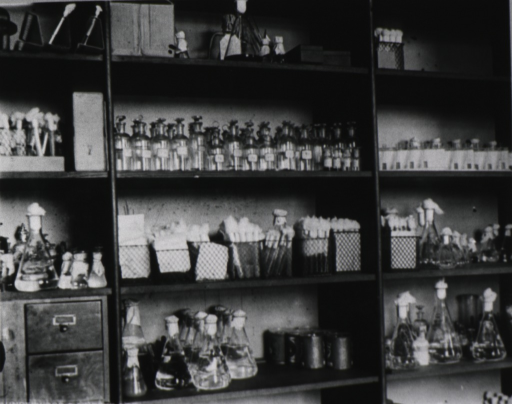 <p>Interior view of laboratory: storage shelves with glass containers of growing medium for various kinds of germs, and containers of cultures of germs.</p>