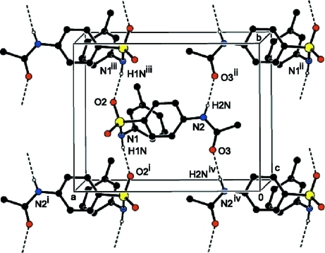 A view of the N—H···O interactions (dotted lines) in the crystal structure of the title compound. H atoms non–participating in hydrogen- bonding were omitted for clarity. [Symmetry codes: (i) - x + 3/2, y - 1/2, z; (ii) - x + 1/2, y + 1/2, z; (iii) - x + 3/2, y + 1/2, z; (iv) - x + 1/2, y - 1/2, z.]