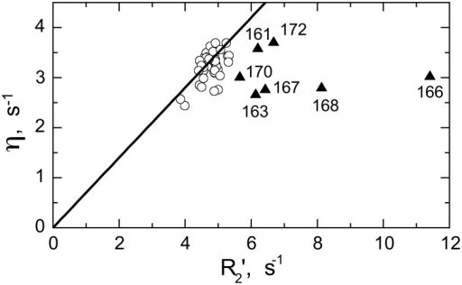 Model-independent verification of the conformational exchange broadening using η vs. R2' plot. Shown are data for SH3circ-GΔ measured at 600 MHz. The data points with significant shift to the right (triangles) from the linear dependence η vs. R2' (Fushman and Cowburn, 1998) correspond to those residues (indicated) involved in conformational exchange, in excellent agreement with the results of our model-free analysis of 15N relaxation data (cf. Figure 5E). The solid line corresponds to 15N CSA of −160 ppm and a 20° angle between the 15N CSA and 1H-15N dipolar tensors. A rough estimate of Rex values directly from the horizontal shift in the data is in good agreement with those from model-free analysis (Figure 5E): 0.8 s−1(Ile161), 1.6 s−1 (Asp163), 4.9 s−1 (Glu166), 1.7 s−1 (Glu167), 2.9 s−1 (Gln168), 0.9 s−1 (Trp170), 1.0 s−1 (Ala172), all numbers were divided by (1.2)2 to scale to 500 MHz.