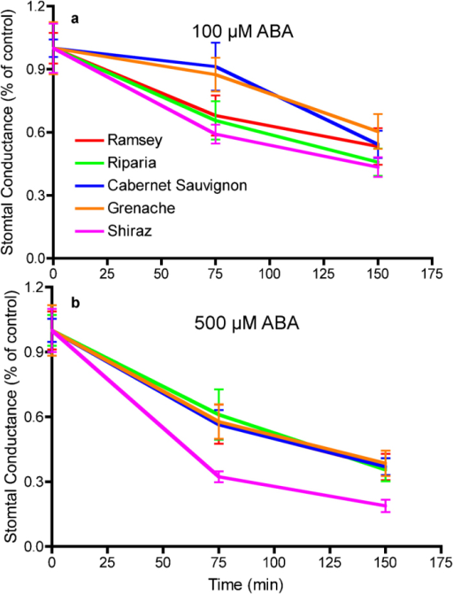 Stomatal sensitivities to ABA of five grapevine genotypes: (a) 100 µM ABA; (b) 500 µM ABA. Data are expressed as the mean±s.e.m. (n=9).