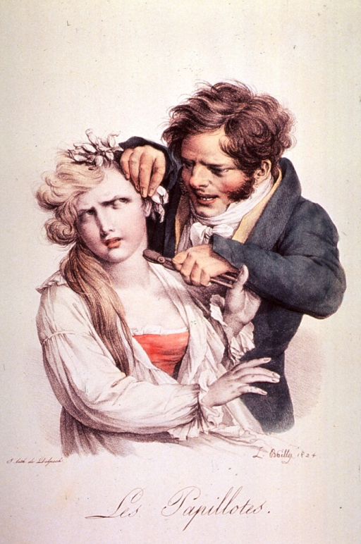 <p>A man is placing curl-paper in a woman's hair; the woman grimaces and pushes away the man.</p>