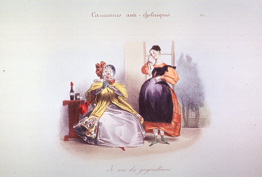 <p>Caricature:  Two women, one seated next to a table with two bottles; the other woman stands to the right with her right hand to her cheek holding a handkerchief, she is pregnant and perhaps concern about cholera has led her to seek traditional remedies.</p>