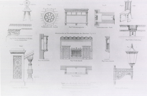 <p>Detail of a variety of architectural features such as lamps, handrails, bookshelves, chairs, and others.</p>