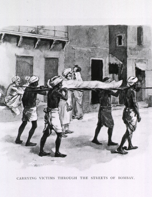 <p>Carrying victims of bubonic plague in India through the streets of Bombay.</p>