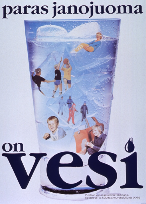 <p>Predominantly white poster with blue and black lettering.  Initial title words at top of poster.  Visual image is a color photo reproduction showing a tall glass of ice water.  Additional color photo reproductions are superimposed on the glass; they feature people engaged in gymnastics, basketball, skiing, and car repair.  Remaining title words at bottom of poster.  Publisher information in lower right corner.</p>
