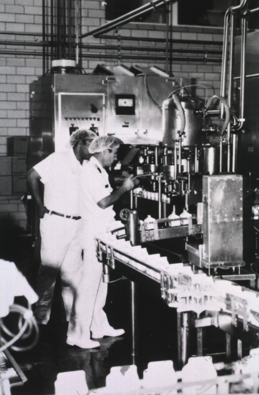 <p>PHS officer wearing summer uniform and a plastic cap on his head inspects a milk-cartoning production line; he holds a flashlight; another man stands behind him.</p>