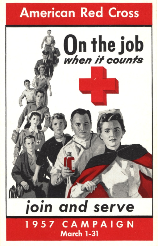 <p>An illustration showing a nurse in a uniform, cap, and cloak with ten people following her including a physician with a stethoscope around his neck and holding a bottle of medicine, a male patient in a wheelchair, Red Cross nurses and doctors, and military personnel. A Red Cross symbol is above the heads of the nurse and physician.</p>