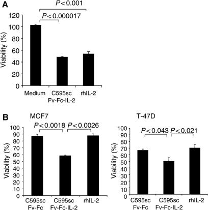 The fusion protein C595scFv-Fc-IL2 activates resting NK cells to tumour cell lysis (A). MCF7 cells (MUC1+) (5 × 104 cells per well) were cocultured with resting NK cells (1x105 cells per well) in the presence of C595scFv-Fc-IL2 fusion protein or IL2 (400 U ml−1). As control, MCF7 cells were cocultured with NK cells in cell culture medium without additives. (B) MCF7 and T-47D tumour cells (MUC1+) were preincubated with cell culture supernatants containing C595scFv-Fc, C595scFv-Fc-IL2, or IL2 (400 U ml−1), respectively. After four rounds of washings, cells were seeded into round-bottom microtiter plates (5 × 104 cells per well) and cocultured with resting NK cells (1 × 105 cells per well). The viability of MCF7 and T-47D cells was determined by an XTT-based viability assay as described in Material and Methods. The assays were performed in triplicate; data are presented as the mean±s.e.m. Statistical significance was determined utilising Student's t-test.