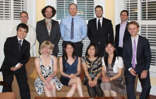 Motors and martinis: the Reck-Peterson lab building teamwork skills at a cocktail party. Seated (left to right): W. Qiu, S. Reck-Peterson, J. Huang, K. Tan, S. Zou, and A. Roberts. Standing (left to right): W. B. Redwine, M. Cianfrocco, M. Egan, M. McClintock, and B. Goodman.