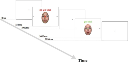 Two example trials from the Overlap task. The central fixation cross was green on go trials or red on no-go trials. The horizontal target line was equally likely to occur on the left or the right side of the face, with the vertical line always appearing on the opposite side.