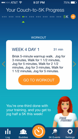 Plan or orders feature in the Couch-to-5K app.