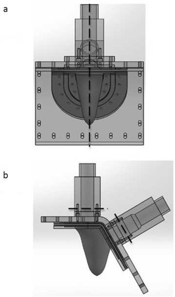 Locations of the planes (relative to the LV physical model) used for acquiring PC-CMR measurements: (a) shows the plane used for acquiring in plane velocity measurements of the flow through the LV model, and (b) shows the locations of the two planes used for acquiring PC-CMR measurements of normal component of velocity (through-plane) upstream of the mitral and aortic valves.