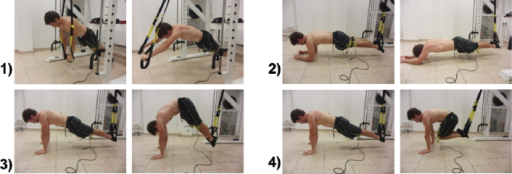 Initial and final positions of each exercise: 1) Roll-out; 2) Bodysaw; 3) Pike; 4) Knee-tuck.