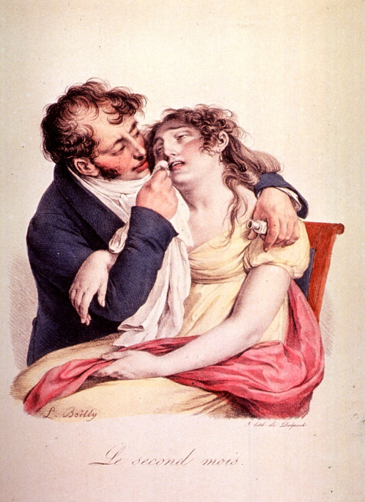 <p>A pregnant woman is being attended to by a man; he appears to be administering an inhalant.</p>