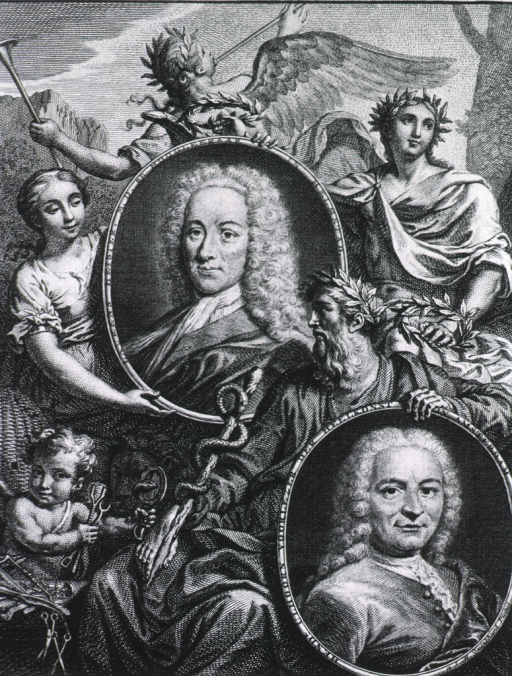 <p>Heister: head and shoulders, left pose, full face; in oval.  Ulhoorn: head and shoulders, right pose, full face; in oval.  Decorative background with symbolic figures, angels, caduceus, and surgical instruments.</p>