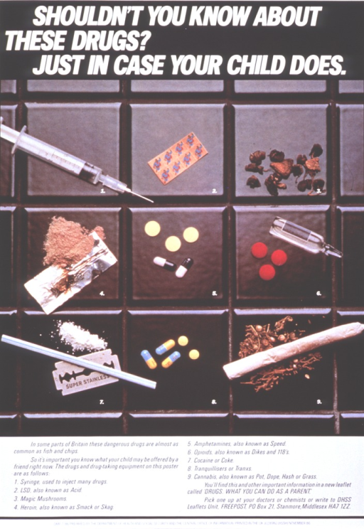 <p>Multicolor poster with white and black lettering.  Title at top of poster.  Dominant visual image, immediately below title, is a reproduction of a color photo showing street drugs and drug paraphernalia.  Caption below photo identifies items in photo and provides an address from which to obtain a free booklet.</p>