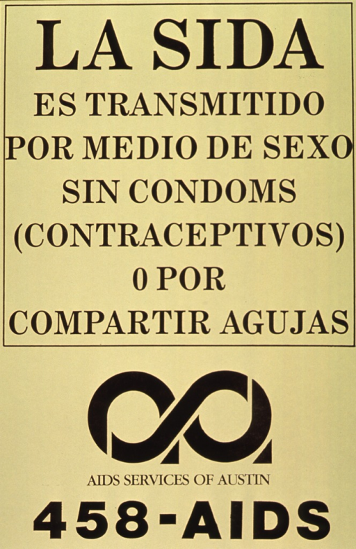 <p>Yellow poster with black lettering.  Title in upper portion of poster.  Visual image is a logo that resembles the number 8 lying on its side, with two small triangles at the center and right.  Publisher information and phone number below logo.</p>
