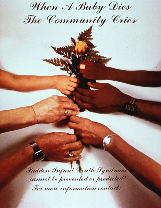 <p>Multicolor poster with black lettering.  Title at top of poster.  Visual image is a color photo reproduction showing six hands holding a rose by its stem.  Caption below photo.</p>