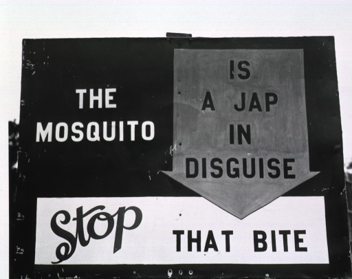 <p>Close-up photograph of the sign (&quot;Stop that bite--the mosquito is a Jap in disguise&quot;) in daylight.</p>