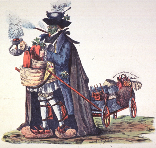 <p>A man is wearing the cholera preventive costume involving various protective measures such as a steaming pot on his head, a face mask, large stone-like devices under his feet, and a large smoking cigar. He is towing a wagon of household articles.</p>