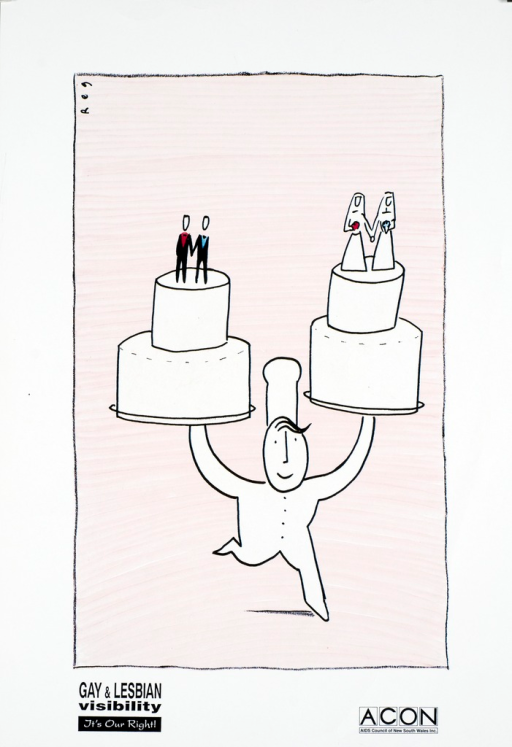 <p>A baker is running with a wedding cake in each hand.  Figures of two men are holding hands on the top of one cake ; on the top of the other, figures of two women dressed in bridal gowns are holding hands.</p>