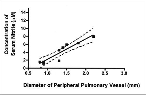 Correlation between peripheral pulmonary vessel diameter and serum nitrite concentration in 6 animals 3 weeks after common bile duct ligation and in four animals in the control group. Peripheral pulmonary vessel diameter was found to correlate significantly with serum nitrite concentration (r = 0.92, p < 0.001).