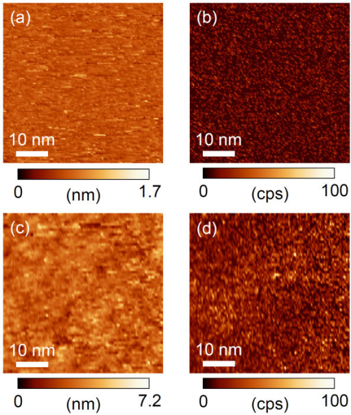 STM topographic images and photon integration maps of PTCDI-C7 thin films. STM topographic images on (a) HOPG and (c) Au substrates, and photon integration maps on (b) HOPG and (d) Au substrates. Pairs of a topographic image and a photon map ((a) and (c), (b) and (d)) were obtained simultaneously (Vs = +2.2 V, It = 20 nA).