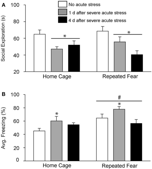 Effects of prior repeated fear stress on persistence of anxiety behavior following severe acute stress. Following 22 days of no repeated fear (home cage) or repeated fear stress (repeated fear), rats were either exposed to no acute stress or to 100 uncontrollable tail shocks (acute severe stress). Juvenile social exploration (A) and shock-elicited freezing (B) were measured either 1 or 4 days later in a novel environment. *p < 0.05 relative to 0 groups; #main effect of repeated fear stress (p < 0.05).